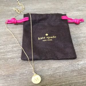 """Kate Spade One in a Million """"M"""" gold necklace"""